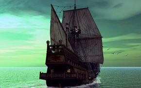 statek, parusnik.yahta, statek, zwykle, fregata, 3d