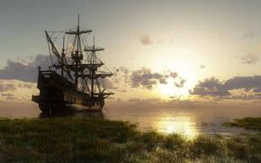 ship, parusnik.yahta, ship, ships, frigate, 3d, Rendering, sea