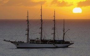 ship, parusnik.yahta, ship, ships, frigate, sea, sunset, landscapes