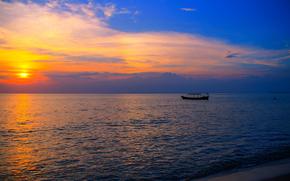 imbarcazione, mare, tramonto, Cambogia, Spiaggia Otres, Asia