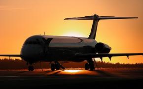 Авиация, самолёт, лайнер, закат, самолёты