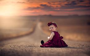 girl, dress, bokeh, road, SPACE