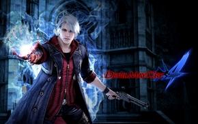 fanart, Nero, blue rose, revolver, hand