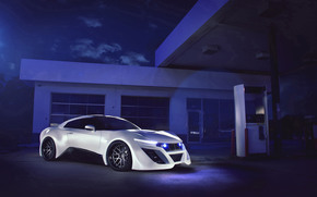 column, weather-cloth, night, Nissan, Nissan, Body kit, gas stations, white, filling