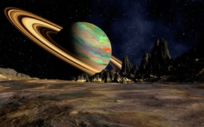 space, planet, Planet, Saturn, Star, view, HORIZON, 3d, Rendering