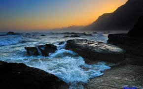 tramonto, mare, Rocce, paesaggio