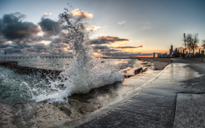 waves on the shore of Chicago, sunset, landscape