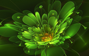 Rendering, 3d, abstracción, Flores