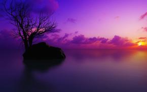 landscapes, nature, sky, sunset, river