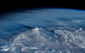 planet, cyclone, land, atmosphere, clouds