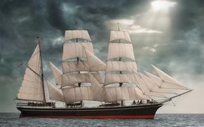 Другая техника, парусник, Звезда Индии, тучи, паруса, море, барк