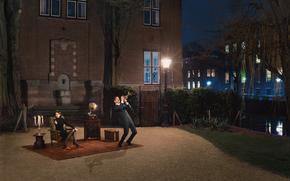 мужчина, граммофон, девушка, комната, кресло, город