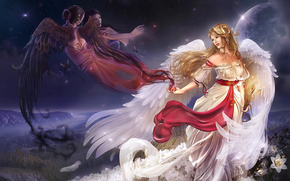 fantasia, Fantasy, miscellanea, Ragazze, angelo, situazione