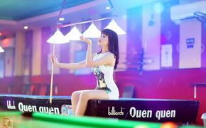 girl, table, billiards