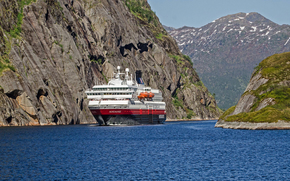 Norway, sea, Rocks, cruise liner