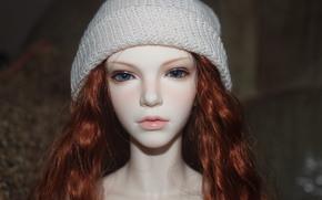 boneca articulada, cabelo vermelho, boneca, Boné, olhos azuis