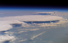 planet, land, atmosphere, clouds