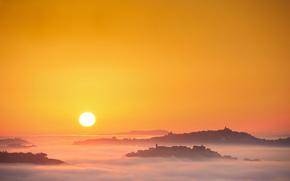 Италия, утро, туман, Марке, солнце, восход