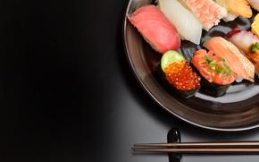 fructe de mare, file, fundal negru, alimente, fel de mâncare făcut, FISH, caviar, sushi