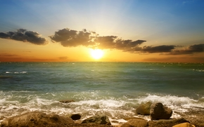 natura, paesaggio, spiaggia, cielo, mare, nuvole, sabbia, puntellare, Bella scena al tramonto