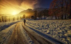 road, girl, home, Mountains, DAWN
