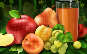 fruit, juice, tatyurmort, apple, pear, glass, grapes