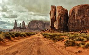 arbusto, Monument Valley, Rocas, arena, carretera, nubes, Arizona, suelo, EE.UU.