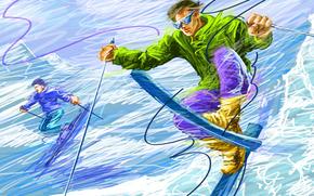 Mountains, descent, snow, skiing, slalom