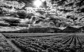 soleil, nuages, ☁, Montagnes, Rays, domaine, ciel, b \ w