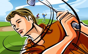 vector, strike, golf, field, club, drawing, players