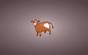 minimalism, Horns, burenka, spot, TAIL, cow