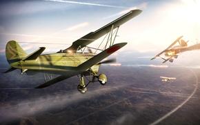 война, воздушный бой, самолёты, небо