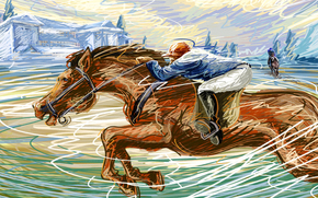speed, racetrack, drawing, gait, races, touch, horse, jockey, vector
