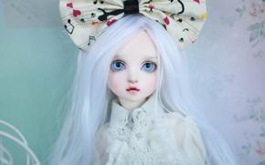 long hair, white hair, bow, doll, blue eyes