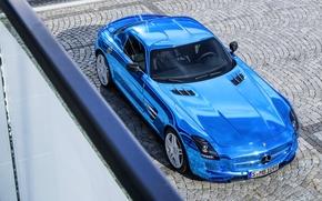 Суперкар, Капот, Машина, Брусчатка, Вид с верху, Синий, Mercedes