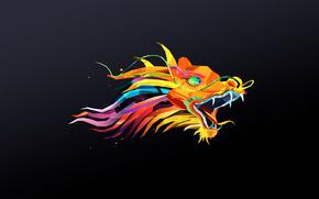 dragon, minimalism, polygons, head