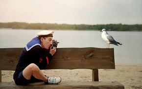 фото, чайка, моряк, юмор, на память