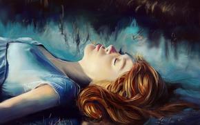 арт, рыжая, волосы, девушка, закрытые глаза, туман, лицо, живопись