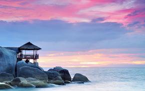景观, 海, 日落, 石头