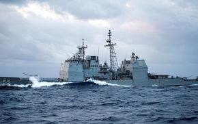 """Marinha dos EUA, spray, cruzador de mísseis, mar, digite """"Ticonderoga"""", ondas"""