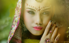 ornamentation, hand, view, background, makeup, face, girl