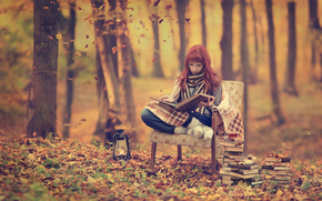 autumn, girl, Books, forest, chair