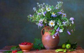 tavolo, brocca, bouquet, ancora vita, mele, piselli, Fiori, BERRY