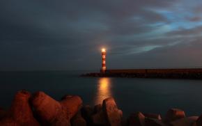 пирс, сумерки, пляж, маяк, море