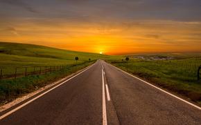 turn, field, HORIZON, dawn., sky, terrain, road, view, bending, Herbs, landscape, Verge, sun, Hills, into the distance, fence