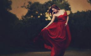 ragazza, vestire, filtro, in rosso, Gratta