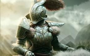 cavaliere, Art, Armatura, CODA, pelliccia, casco, guerriero