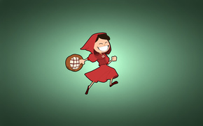 greenish background, Red Riding Hood, girl, minimalism, basket, happy