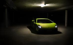 Lamborghini, superleggera, Gaillarde, Lamborghini, parking, front view, headlights, Green