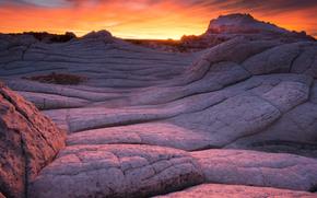 монумент, Белый карман, Аризона, вечер, закат, национальный парк